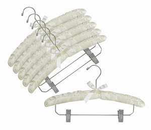 Satin Padded Hangers w/Chrome Hook & Clips